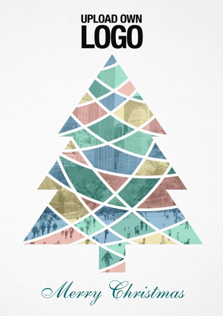 Corporate Christmas photo card with colorful Christmas tree, text and logo option.