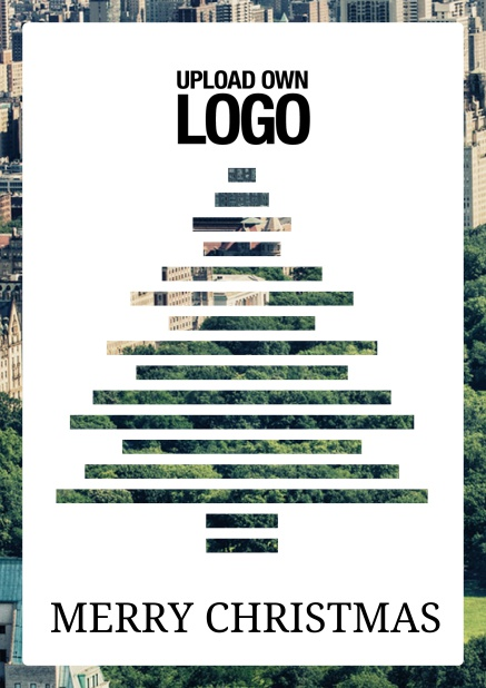 Online Corporate Christmas card with Sliced Christmas tree over the photo.