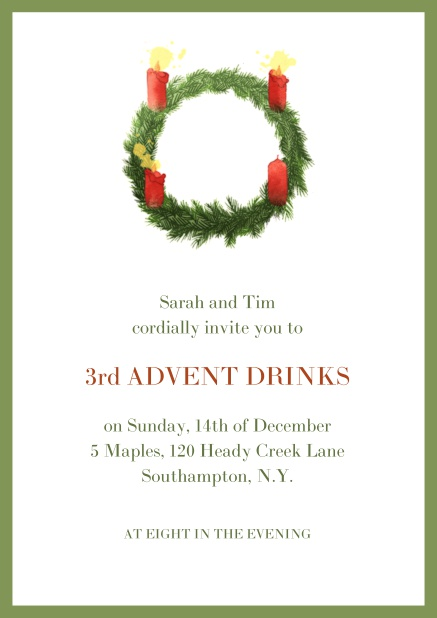 Online Advent invitation card with three burning candles. Green.