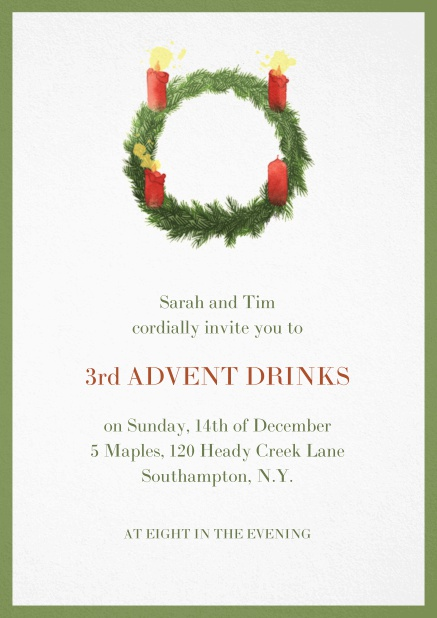 Advent invitation card with three burning candles. Green.