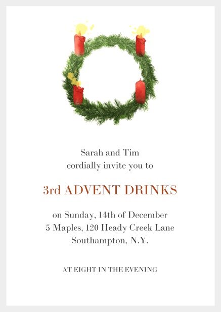Online Advent invitation card with three burning candles. Grey.