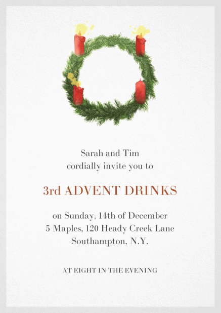 Advent invitation card with three burning candles. Grey.