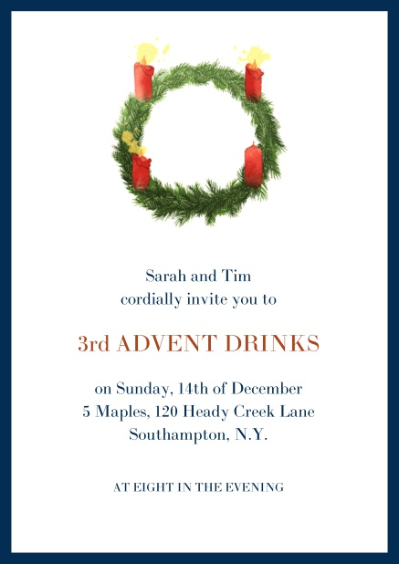 Online Advent invitation card with three burning candles. Navy.