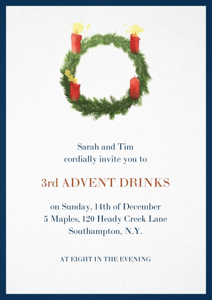 Advent invitation card with three burning candles. Navy.