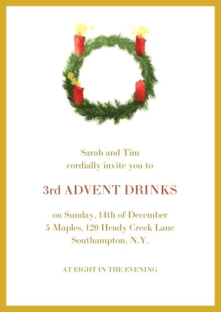 Online Advent invitation card with three burning candles. Yellow.