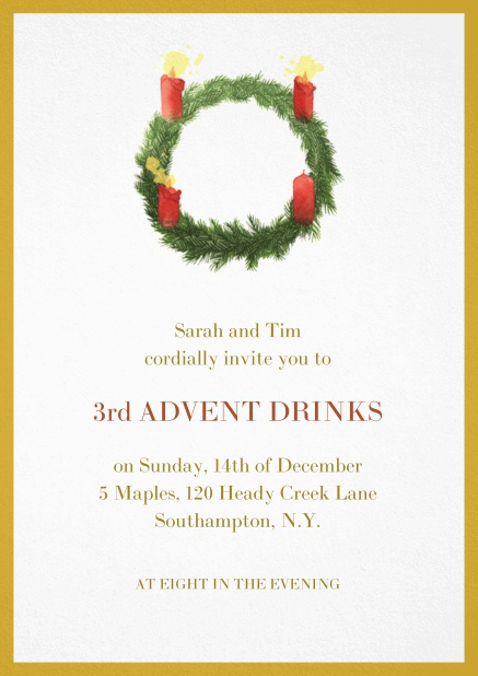 Advent invitation card with three burning candles. Yellow.