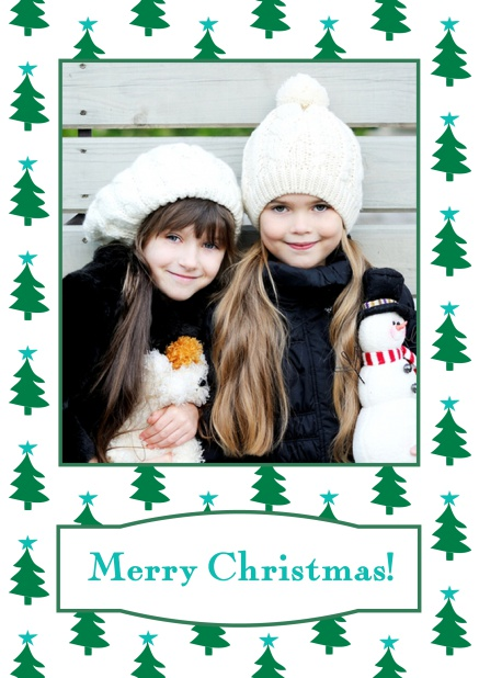 Online Christmas card with large photo surrounded by cute Christmas trees. Blue.