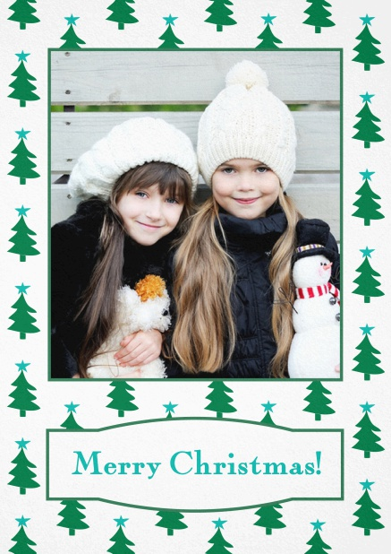Christmas card with large photo surrounded by cute Christmas trees. Blue.