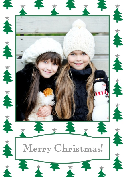 Online Christmas card with large photo surrounded by cute Christmas trees. Grey.