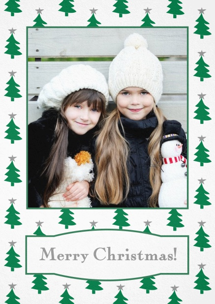 Christmas card with large photo surrounded by cute Christmas trees. Grey.