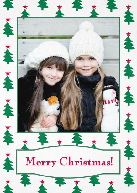 Christmas card with large photo surrounded by cute Christmas trees. Red.