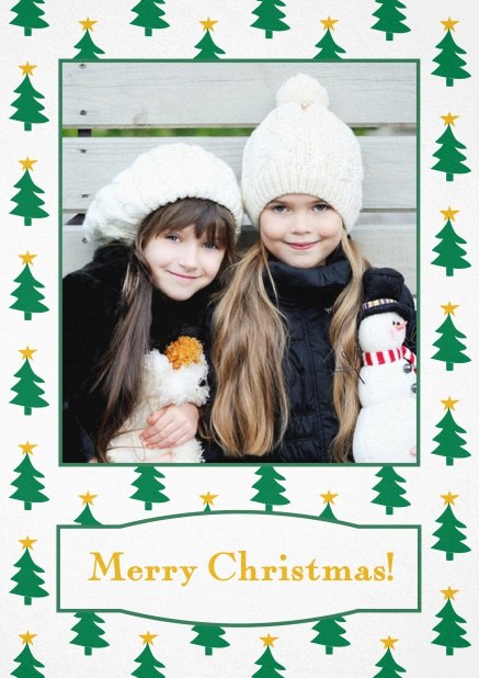 Christmas card with large photo surrounded by cute Christmas trees. Yellow.