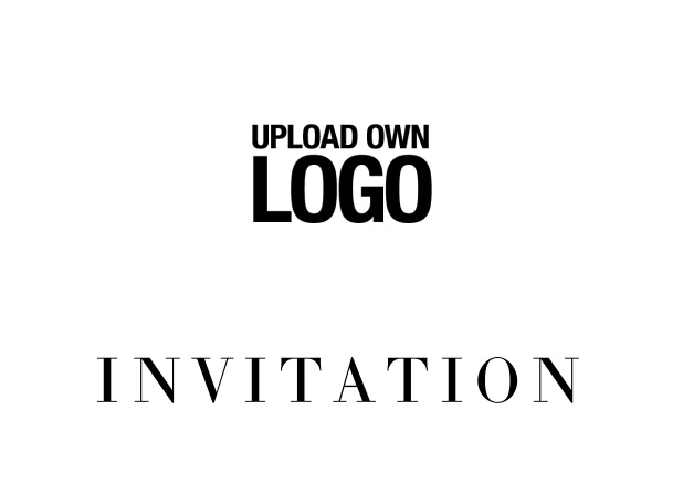 Online simple white invitation card with logo option and customizable text. Black.