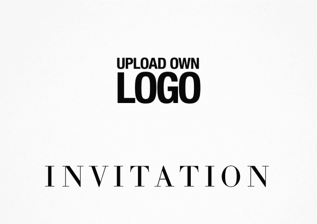 Simple white invitation card with logo option and customizable text. Black.