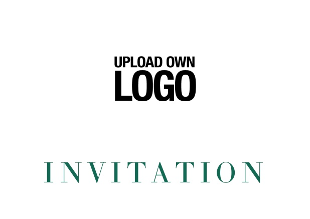 Online simple white invitation card with logo option and customizable text. Green.