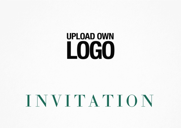 Simple white invitation card with logo option and customizable text. Green.