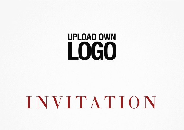Simple white invitation card with logo option and customizable text. Red.