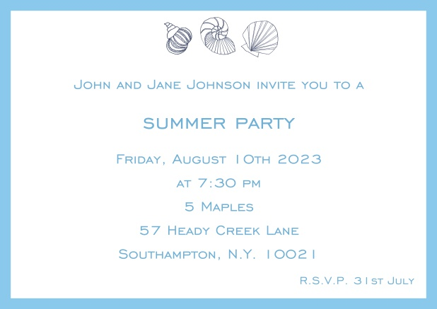 Online Summer invitation card with shells and colorful matching frame. Blue.