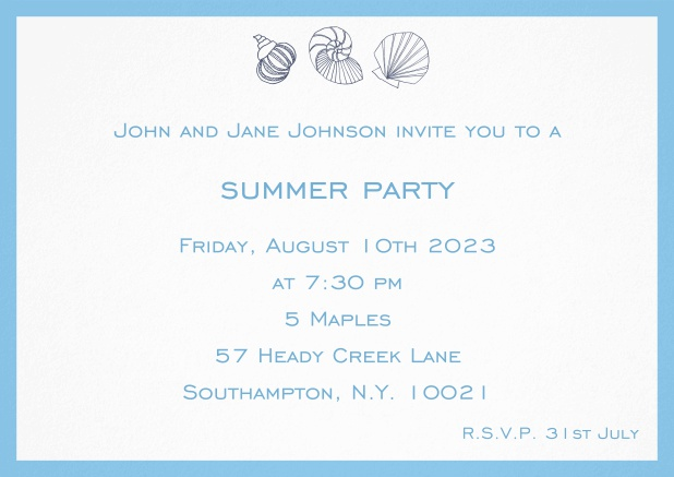 Summer invitation card with shells and colorful matching frame. Blue.