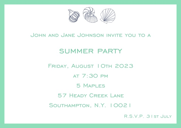 Online Summer invitation card with shells and colorful matching frame. Green.