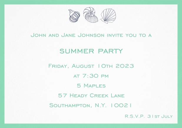 Summer invitation card with shells and colorful matching frame. Green.
