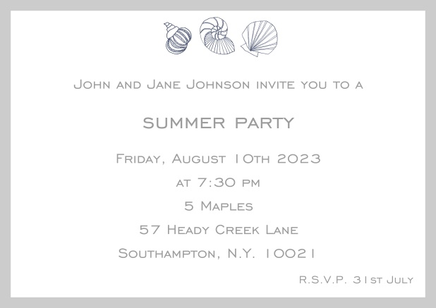 Online Summer invitation card with shells and colorful matching frame. Grey.