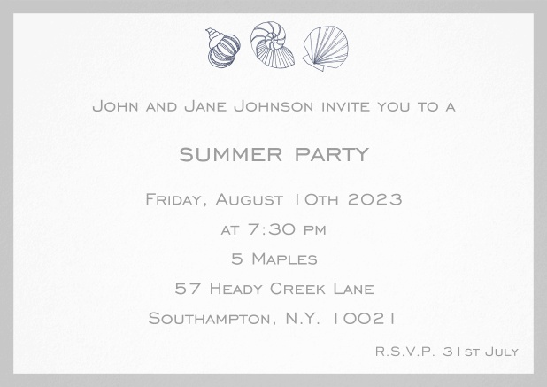 Summer invitation card with shells and colorful matching frame. Grey.