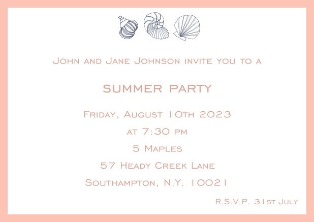 Online Summer invitation card with shells and colorful matching frame. Pink.