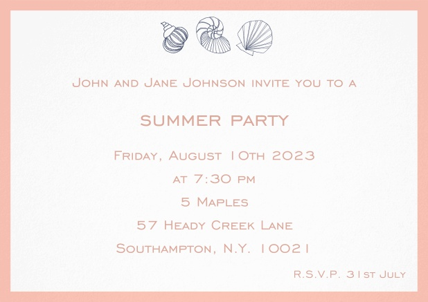 Summer invitation card with shells and colorful matching frame. Pink.