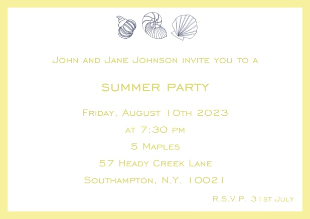Online Summer invitation card with shells and colorful matching frame. Yellow.