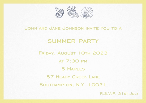 Summer invitation card with shells and colorful matching frame. Yellow.