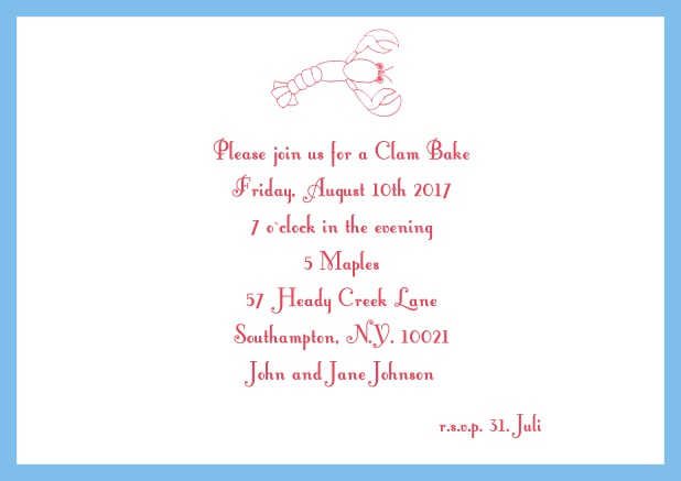 Summer Online invitation card with lobster, perfect for clam bakes or beach dinners. Blue.