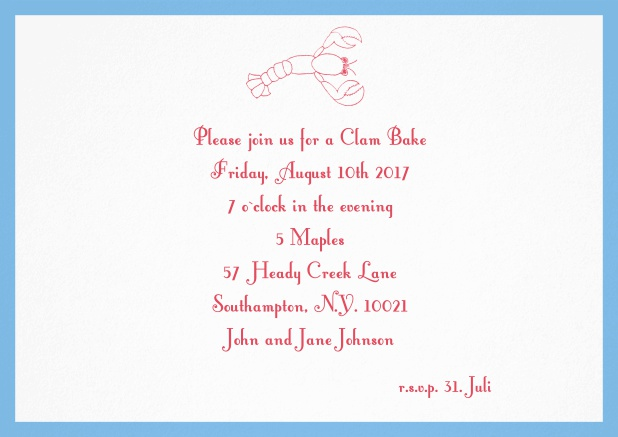 Summer invitation card with lobster, perfect for clam bakes or beach dinners. Blue.