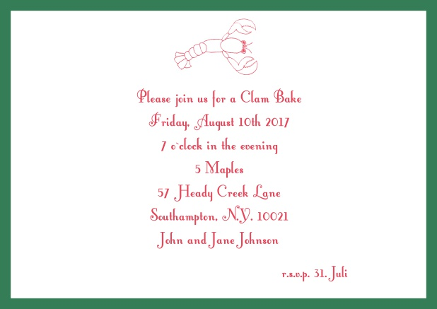 Summer Online invitation card with lobster, perfect for clam bakes or beach dinners. Green.
