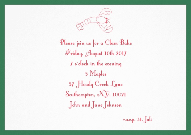 Summer invitation card with lobster, perfect for clam bakes or beach dinners. Green.