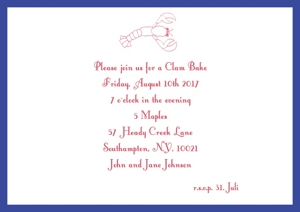 Summer Online invitation card with lobster, perfect for clam bakes or beach dinners. Navy.
