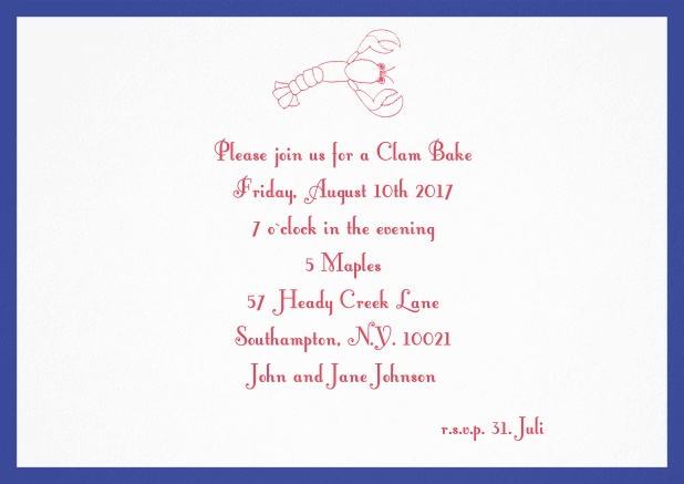 Summer invitation card with lobster, perfect for clam bakes or beach dinners. Navy.