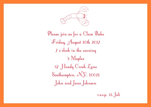 Summer Online invitation card with lobster, perfect for clam bakes or beach dinners. Orange.