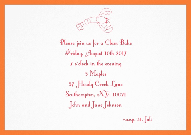 Summer invitation card with lobster, perfect for clam bakes or beach dinners. Orange.