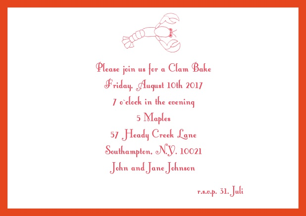 Summer Online invitation card with lobster, perfect for clam bakes or beach dinners. Red.