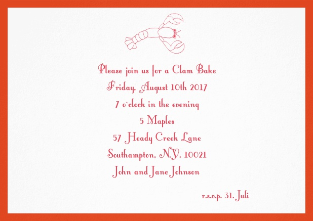Summer invitation card with lobster, perfect for clam bakes or beach dinners. Red.