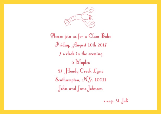 Summer Online invitation card with lobster, perfect for clam bakes or beach dinners. Yellow.
