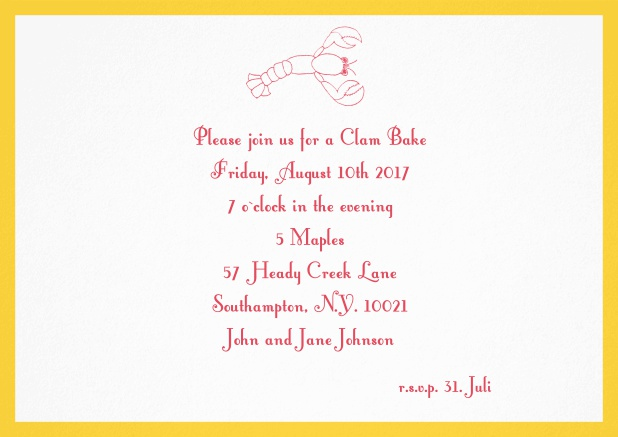 Summer invitation card with lobster, perfect for clam bakes or beach dinners. Yellow.