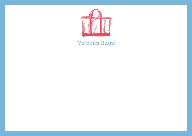 Customizable online note card with beach bag and frame in various colors. Blue.