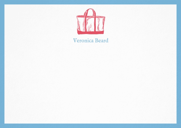 Customizable note card with beach bag and frame in various colors. Blue.
