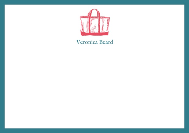 Customizable online note card with beach bag and frame in various colors. Green.