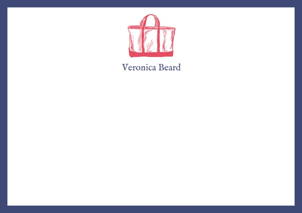 Customizable online note card with beach bag and frame in various colors. Navy.