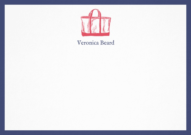 Customizable note card with beach bag and frame in various colors. Navy.