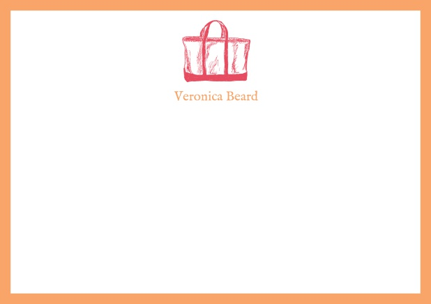 Customizable online note card with beach bag and frame in various colors. Orange.