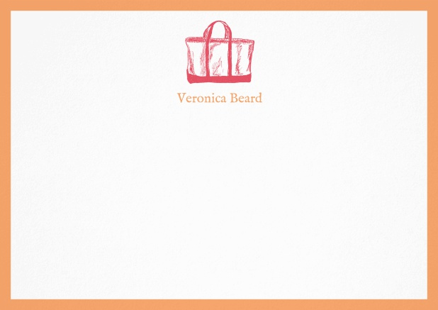 Customizable note card with beach bag and frame in various colors. Orange.